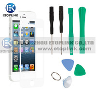 For Apple iPhone 1280x720 Capacitive Screen Brand New OEM Replacement Colorful Screen Glass Lens Only for iPhone 5 with free tools 5pcs