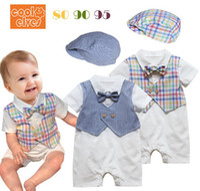 Boy Summer Cotton Blends 2014 NEW kids baby romper + hats rompers boy boys ruflled jumpers tie bow plaid gentleman short sleeve summer B1462345