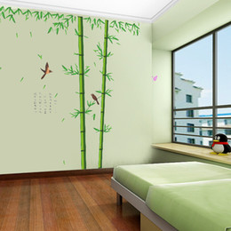 Wholesale cm Large Chinese Style Bamboo Wall Stickers Living Room TV Wall Sofa Removable Home Sticker Wall Sticker