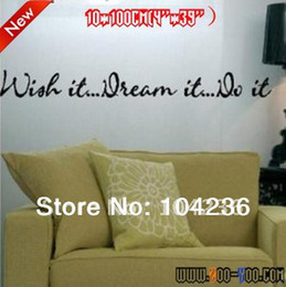 Wholesale Wish It Dream It Do It English Quote Vinyl Wall Decals cm Removable Waterpoof Wall StickerZYVA NA
