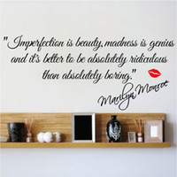 Wholesale FF Imperfection Is Beauty Marilyn Monroe Wall Sticker Quote Decal Art Deco Vinyl