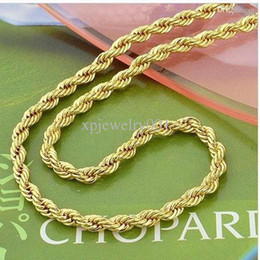 """Wholesale - Low Price 14K Yellow Gold Filled 24"""" Knot Mens Rope Necklace Chain GF Jewelry Twist-link Chain 4mm wide Christmasgift"""