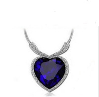 Pendant Necklaces crystal heart - Classic Luxury Austrian Crystal Titanic Love Of Heart Diamond Pendant Necklace Blue