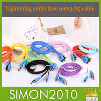 Cheap Micro USB Snyc Data Cord 1m 3ft S5 Note3 LED Light Smile Face Flat Noodle Charger Cable for Samsung Galaxy S5 Note 3 III N9006 N9008 N9009