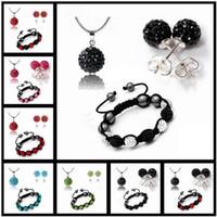 Wholesale 15 kinds of styles Fashion Jewelry Shambhala Crystal Ball Bracelet Earrings and Necklace Set a461