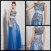 Reference Images Crew Tulle New Arrival 2014 Custom Made Sexy A-line Blue Jewel Sleeveless Peacock Dress Glamour Prom Gown