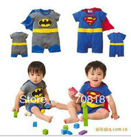 Unisex Summer Cotton Blends 2013 summer new Baby kid's clothing Romper Short sleeve Superman Batman rompers boy Jumpsuit Bodysuits 8pcs lot two designs