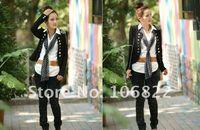 Jackets Women Cotton Fashion Black Women Slim fit Business Puff Sleeves Suit Blazer Jacket Coat Free Shipping wholesale
