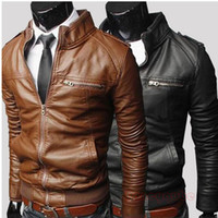Jackets Men Cotton Fashion Men'S Slim Pu Leather Machine Wagon England Style Solid Color Standing Collar Leather Jacket Casual Outerwear MF-4310