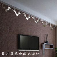 Paper Wallpapers Waterproof Living Room European diagonal pattern dimensional acrylic mirror wall stickers living room TV backdrop decorated marriage room roof shapes