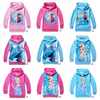 Girl Spring / Autumn Hooded 10styles! Frozen Baby Girls hooded Elsa Anna Princess Hoodie Long Sleeve Terry sweatshirts Jumper children Hoodies Outerwear Kids Clothing