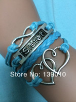 achat en gros de antique k-Livraison gratuite! Antique Silver Double Heart Sister Infinity Woven Blue Leather Rope Bracelet 2014 New Fashion Women Jewelry K-931