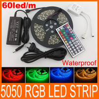 SMD 5050 ribbon strip - LED Strips Light SMD RGB LED LED M LED light ribbon Waterproof IP65 with free keys IR Remote V5A power charger