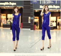 blue deep clothing - 2014 New Fashion Summer Women Jumpsuits Brand Deep Blue Chiffon Jumpsuits For Women Casual Women Clothing