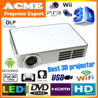 DLP android business - Built in android wifi full HD p mini LED DLP active shutter D projector convert D to D proyector