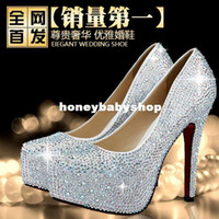 Wholesale waterproof high heeled wedding shoes red female slipper diamond white wedding shoes bridal shoes bridesmaid