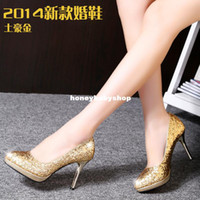 Wholesale new winter high heeled wedding shoes red gold sequined wedding shoes bridal shoes bridesmaid shoes banquet singles shoes