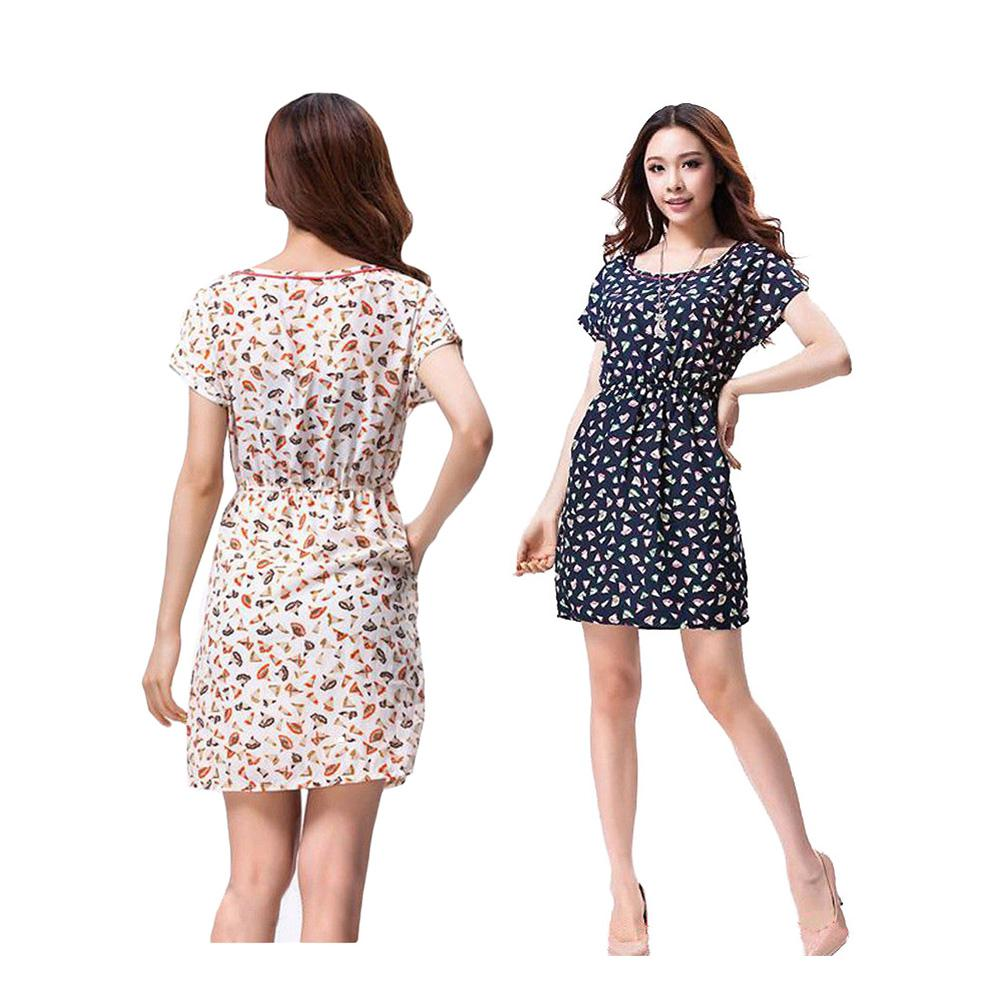 Christmas dress casual - S5q Casual Women Summer Tunic Floral Print Short Sleeve Chiffon Mini Dress Aaadgb Women Dress Casual Floral Print Dress Chiffon Mini Dress Online With