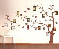 Wholesale 1 set High Quality Brown Photo Frames Tree Wall Sticker for Living Room Bedroom TV Background Large Size Home Decor Vinyl Decals