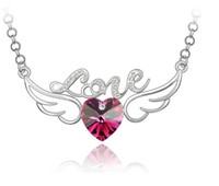 Pendant Necklaces angel - 2014 Hot Sale Austria Crystal Angel Wing Love Heart Pendant Necklace