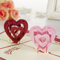 Wholesale quot I Love You quot Red Heart Design Handmade Creative Kirigami Origami D Pop UP Greeting Gift Cards set of