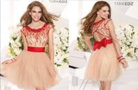Cheap Ball Gown Short Prom Dress 2014 Tarik Ediz Scoop Neck With Sheer Beading Bodice Ribbon Sash Back Hollow Bow Soft Tulle Skirt Cheap
