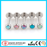 Wholesale 316L Surgical Steel Opal Labret Opal Body Jewelry