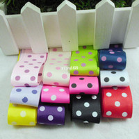 Wholesale Top Quality mm Width Rayon Polka Dot Print Rib Satin Ribbon Polyester Material Single Face For Wedding Decoration Colors