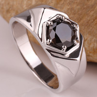 Solitaire Ring Men's Gift Men 925 Sterling Silver Ring 8.0mm Stone Black Onyx with Angle Pattern Support Customization R513