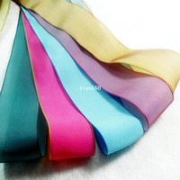 Quilt Accessories Ribbons Yes Wholesale 38 mm Wide Double Color Chameleon Design Iridescence Silk Organza Ribbon DIY Craft Bow Hair Accessory Polyester Fabric