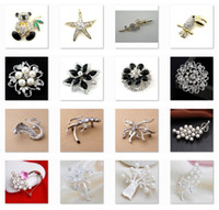 Wholesale Low sales Brooches Rhinestone Flowers Fruit Pearl Pins Different Styles Brooch LKYLB003