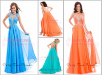 Reference Images High Neck Chiffon New Elegant A Line Formal Evening Dresses Sexy Aqua Blue High Collar Backless Crystals Tiered Cutout Chiffon Vintage Beach Prom Gowns PT6425