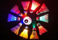 Wholesale LED badminton glow in the dark set bird Colorful LED Shuttlecock Badminton Feather Birdies
