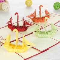 Wholesale The Creative quot Sailing Boat quot Handmade Kirigami amp Origami D Pop UP Greeting Cards For Birthday Gift set of