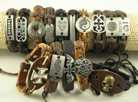 Wholesale Men s Stainless Steel Leather Hemp Wistband Bracelets Great Price Stock Mix Order