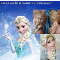 Wholesale Frozen most popular cartoon girl Hair Wigs children Cosplay Wigs Elsa princess white fluffy long hair single plait ponytail Free ship