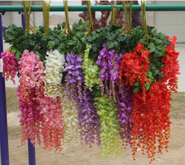 Free Shipping Simulation Artificial Silk Flowers Beautiful Wisteria Flowers Vine Birthday Christmas Ornaments For Party Wedding Decoration