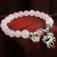 Beaded, Strands South American Women's Horse Fashion Bangles quartz natural Crystal Bracelet handmade jewelry rose Women's bracelets New 2014