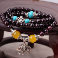 Beaded, Strands Asian & East Indian Unisex Natural Bracelets garnet citrine Fashion bracelets Crystal elephant Pandent bangles turquoise jewelry Nepal bracelet
