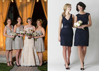 Wholesale Sheath Short Lace Bridesmaid Dresses made V Neck One Shoulder Crew Neck Sweetheart Navy Blue Oyster Party Gowns Hot Cheap Mix