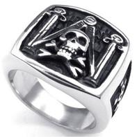 masonic - Whitney_houston Jewelry Mens Stainless Steel Ring Vintage Skull Freemason Masonic Silver Black US size to Drop