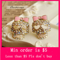 Wholesale Min Order Mix Jewelry order Retro Vintage Lovely Skull Bow With Diamond Cute Fashion Earrings E0004