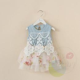 Brand New Korean girls summer dresses - Girls flower bud mesh yarn denim vest tutu Dress