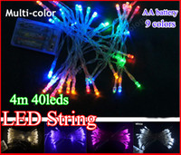 LED christmas lights and decorations - 4M Beads Battery operated LED colorful changing string light portable and safe colors Christmas New year party decoration lamp