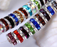 Wholesale MM Wheel shaped Mixed Rondelle Crystal Rhinestone Spacer Beads Silver Plated Gem Findings