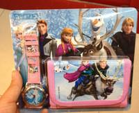 Wholesale Frozen Anna Elsa Sets Watch And Wallet Purse Wrist Quartz Christmas Children Gift Boys Girls Cartoon Watches Factory price free shippin