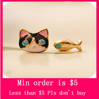 Wholesale Min Order Mix Jewelry order Punk Fashion Lady Black Cat Fish Animal Crystal Rhinestone Ear Stud Earring Gift E0189