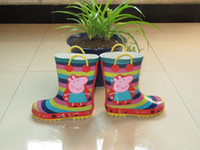 Wholesale Peppa Pig Hot Sell Kids Girls Striped Rain Boot Children s Waterproof Shoes High Quality Childs Girl Wading Boots All match Shoes H0733