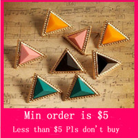 Wholesale Europe Retro Sexy Jelly Candy Color Simple Triangle Lady Stud Earrings Color E0332