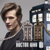 Wholesale Doctor Who Tardis Necklace Police Box Necklace Retro Style Silver Bronzed Color Mix B4